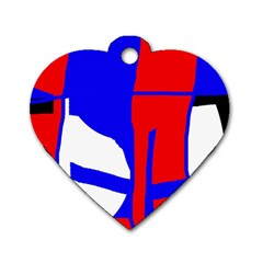 Blue, Red, White Design  Dog Tag Heart (two Sides) by Valentinaart