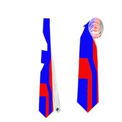 Blue, Red, White Design  Neckties (one Side)  by Valentinaart