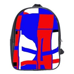Blue, Red, White Design  School Bags (xl)  by Valentinaart