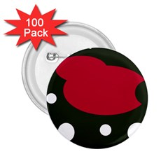 Red, Black And White Abstraction 2 25  Buttons (100 Pack)  by Valentinaart
