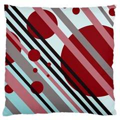 Colorful Lines And Circles Large Cushion Case (two Sides) by Valentinaart