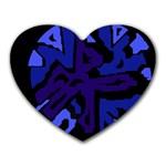 Deep blue abstraction Heart Mousepads