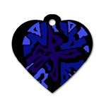 Deep blue abstraction Dog Tag Heart (Two Sides)