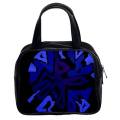 Deep Blue Abstraction Classic Handbags (2 Sides) by Valentinaart
