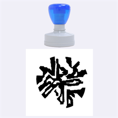 Deep blue abstraction Rubber Round Stamps (Large) by Valentinaart