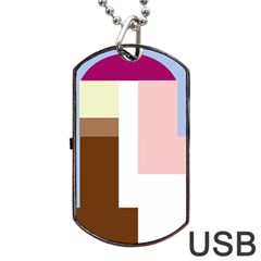 Colorful abstraction Dog Tag USB Flash (Two Sides)  by Valentinaart