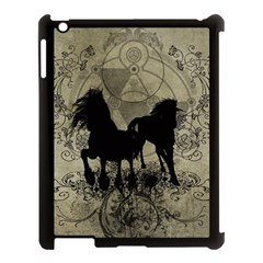 Wonderful Black Horses, With Floral Elements, Silhouette Apple Ipad 3/4 Case (black) by FantasyWorld7
