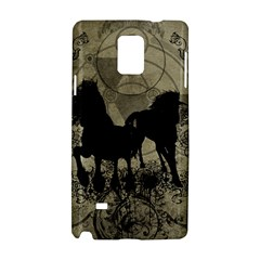 Wonderful Black Horses, With Floral Elements, Silhouette Samsung Galaxy Note 4 Hardshell Case by FantasyWorld7