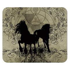 Wonderful Black Horses, With Floral Elements, Silhouette Double Sided Flano Blanket (Small)  by FantasyWorld7