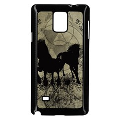 Wonderful Black Horses, With Floral Elements, Silhouette Samsung Galaxy Note 4 Case (black) by FantasyWorld7