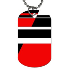 Red, White And Black Abstraction Dog Tag (one Side) by Valentinaart