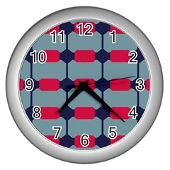 Red Blue Shapes Pattern                                                                                     			wall Clock (silver) by LalyLauraFLM