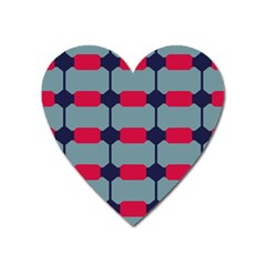 Red Blue Shapes Pattern                                                                                     			magnet (heart) by LalyLauraFLM
