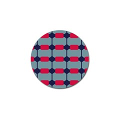 Red Blue Shapes Pattern                                                                                     			golf Ball Marker by LalyLauraFLM