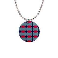 Red Blue Shapes Pattern                                                                                     1  Button Necklace by LalyLauraFLM