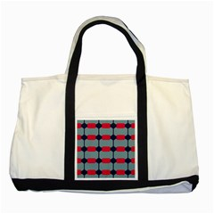 Red Blue Shapes Pattern                                                                                     two Tone Tote Bag by LalyLauraFLM