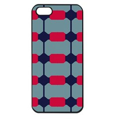 Red Blue Shapes Pattern                                                                                     			apple Iphone 5 Seamless Case (black) by LalyLauraFLM