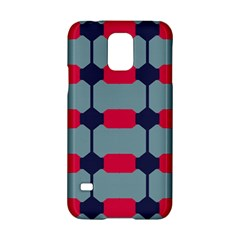 Red Blue Shapes Pattern                                                                                     			samsung Galaxy S5 Hardshell Case by LalyLauraFLM