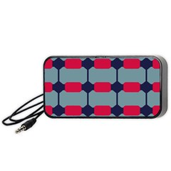 Red Blue Shapes Pattern                                                                                     Portable Speaker by LalyLauraFLM