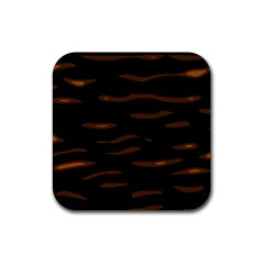 orange and black Rubber Square Coaster (4 pack)  by Valentinaart