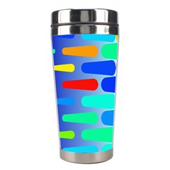 Colorful Shapes On A Blue Background                                                                                       Stainless Steel Travel Tumbler by LalyLauraFLM