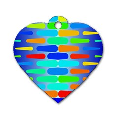 Colorful Shapes On A Blue Background                                                                                       			dog Tag Heart (one Side) by LalyLauraFLM