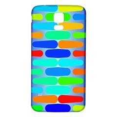 Colorful Shapes On A Blue Background                                                                                      			samsung Galaxy S5 Back Case (white) by LalyLauraFLM