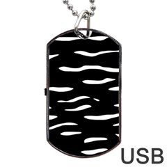 Black And White Dog Tag Usb Flash (one Side) by Valentinaart