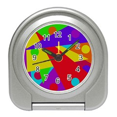 Colorful Abstract Design Travel Alarm Clocks by Valentinaart