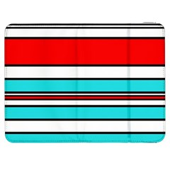 Blue, red, and white lines Samsung Galaxy Tab 7  P1000 Flip Case by Valentinaart