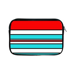 Blue, Red, And White Lines Apple Ipad Mini Zipper Cases by Valentinaart