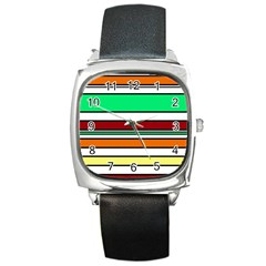 Green, Orange And Yellow Lines Square Metal Watch by Valentinaart