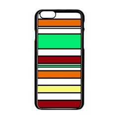 Green, Orange And Yellow Lines Apple Iphone 6/6s Black Enamel Case by Valentinaart