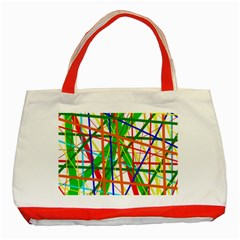 Colorful lines Classic Tote Bag (Red) by Valentinaart