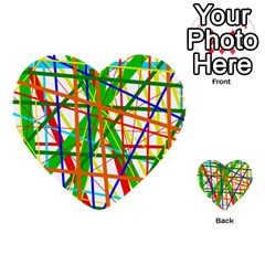 Colorful Lines Multi Purpose Cards (heart)  by Valentinaart