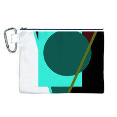 Geometric Abstract Design Canvas Cosmetic Bag (l) by Valentinaart