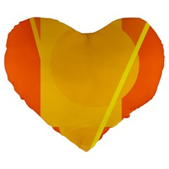 Orange Abstract Design Large 19  Premium Flano Heart Shape Cushions by Valentinaart