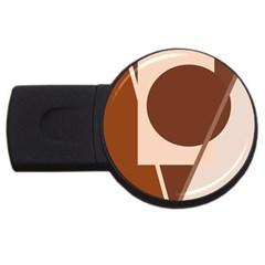 Brown Geometric Design Usb Flash Drive Round (2 Gb)  by Valentinaart