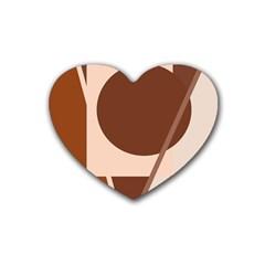 Brown Geometric Design Heart Coaster (4 Pack)  by Valentinaart