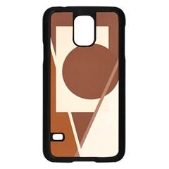 Brown Geometric Design Samsung Galaxy S5 Case (black) by Valentinaart