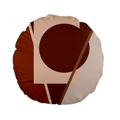 Brown Geometric Design Standard 15  Premium Flano Round Cushions by Valentinaart