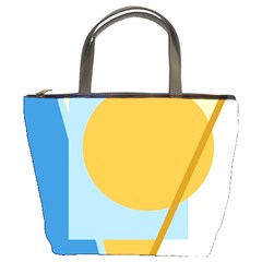 Blue and yellow abstract design Bucket Bags by Valentinaart