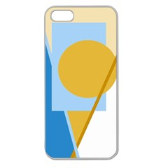 Blue And Yellow Abstract Design Apple Seamless Iphone 5 Case (clear) by Valentinaart