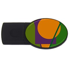 Green And Orange Geometric Design Usb Flash Drive Oval (4 Gb)  by Valentinaart