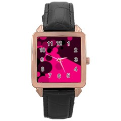 Pink dots Rose Gold Leather Watch  by Valentinaart
