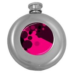 Pink dots Round Hip Flask (5 oz) by Valentinaart