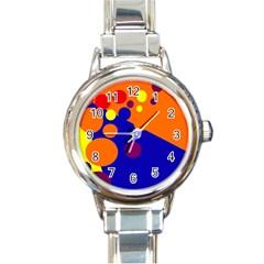 Blue And Orange Dots Round Italian Charm Watch by Valentinaart