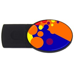 Blue And Orange Dots Usb Flash Drive Oval (4 Gb)  by Valentinaart