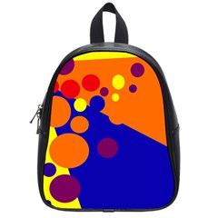 Blue And Orange Dots School Bags (small)  by Valentinaart