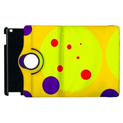 Yellow And Purple Dots Apple Ipad 3/4 Flip 360 Case by Valentinaart